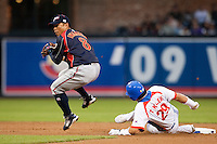 19 March 2009: #29 Taek Keun Lee of Korea slides into second base safely from first base against #8 Akinori Iwamura of Japan during the 2009 World Baseball Classic Pool 1 game 6 at Petco Park in San Diego, California, USA. Japan wins 6-2 over Korea.