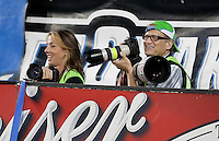 Drew Carey photographing on the sideline. The Seattle Sounders defeated the San Jose Earthquakes 1-0 in the second annual Heritage Cup at Buckshaw Stadium in Santa Clara, California on July 31st, 2010.
