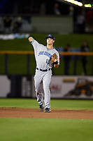 Lake County Captains shortstop Luke Wakamatsu (12) throws to first base during a game against the Quad Cities River Bandits on May 6, 2017 at Modern Woodmen Park in Davenport, Iowa.  Lake County defeated Quad Cities 13-3.  (Mike Janes/Four Seam Images)