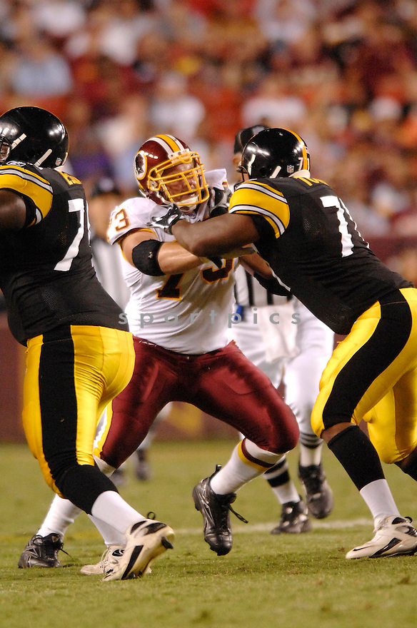 ANTHONY MONTGOMERY, of the Washington Redskins, in action during the Redskins game against the Pittsburgh Steelers in Washington DC on August 18, 2007.  The Steelers won the game 12-10............