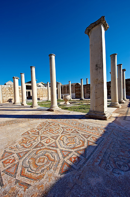 Forecourt of the late Roman period Jewish synagogue of Sardis, over 50 m long and large enough for 1000 worshipers, with 4th cent. AD mosaic floors & walls.  Sardis archaeological site, Hermus valley, Turkey. Discovered in 1962 as part of an on going  Harvard Art Museum excavation project.
