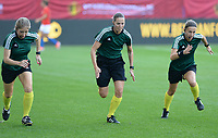20180904 - LEUVEN , BELGIUM : French referees Florence Guillemin (middle) , Manuela Nicolosi and Elodie Coppola (r) pictured during the female soccer game between the Belgian Red Flames and Italy , the 8th and last game in the qualificaton for the World Championship qualification round in group 6 for France 2019, Tuesday 4 th September 2018 at OHL Stadion Den Dreef in Leuven , Belgium. PHOTO SPORTPIX.BE | DAVID CATRY