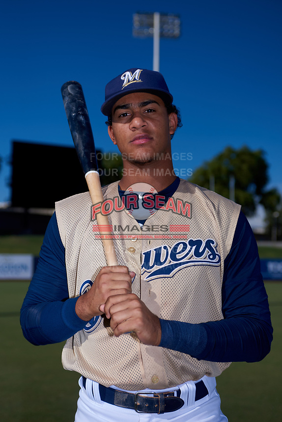 AZL Brewers Gold Victor Maria (27) poses for a photo before an Arizona League game against the AZL Brewers Blue on July 13, 2019 at American Family Fields of Phoenix in Phoenix, Arizona. The AZL Brewers Blue defeated the AZL Brewers Gold 6-0. (Zachary Lucy/Four Seam Images)