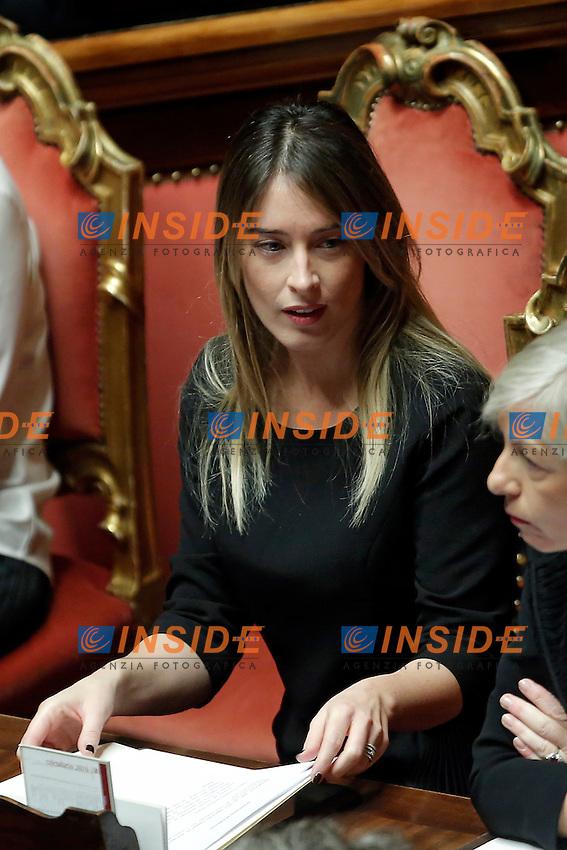 Maria Elena Boschi<br /> Roma 07-12-2016. Senato. Voto di fiducia sulla manovra economica 2017<br /> Rome December 7th 2016. Senate. Trust vote on the economic measures for 2017<br /> Foto Samantha Zucchi Insidefoto