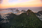 BRAZIL, Rio de Janiero, an ariel view of the Cristo Redentor (statue) with the city of Rio de Janiero in the back