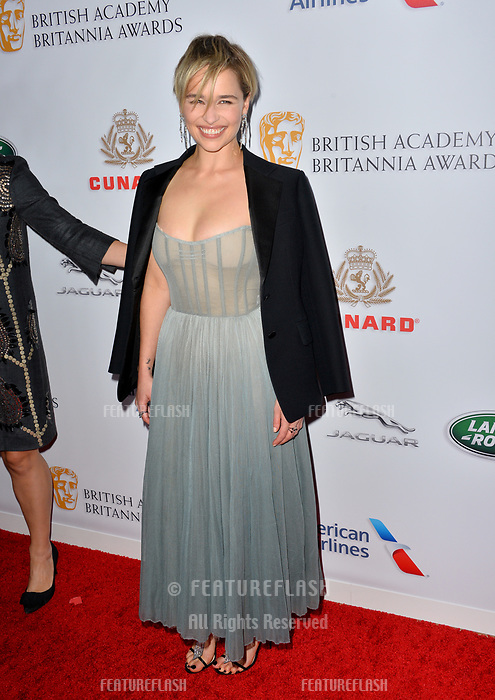 BEVERLY HILLS, CA. October 26, 2018: Emilia Clarke at the 2018 British Academy Britannia Awards at the Beverly Hilton Hotel.<br /> Picture: Paul Smith/Featureflash