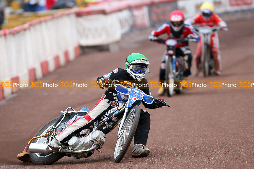 Heat 1: Mark Owen (green), Rhys Naylor (red) and Ben Morley (yellow) - Lakeside Hammers Junior Racing at The Arena Essex Raceway, Lakeside - 20/06/08 - MANDATORY CREDIT: Rob Newell/TGSPHOTO