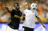 Valencia's Sofiane Feghouli (r) and AS Monaco FC's Elderson during Champions League 2015/2016 Play-Offs 1st leg match. August  19,2015. (ALTERPHOTOS/Acero)