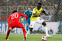 MOSCU - RUSIA, 03-07-2018: Davinson SANCHEZ (Der) jugador de Colombia disputa el balón con Dele ALLI (Izq) jugador de Inglaterra durante partido de octavos de final por la Copa Mundial de la FIFA Rusia 2018 jugado en el estadio del Spartak en Moscú, Rusia. / Davinson SANCHEZ (R) player of Colombia fights the ball with Dele ALLI (L) player of England during match of the round of 16 for the FIFA World Cup Russia 2018 played at Spartak stadium in Moscow, Russia. Photo: VizzorImage / Julian Medina / Cont