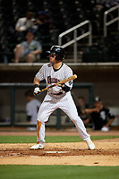 Birmingham Barons Luis Gonzalez (8) squares to bunt during a Southern League game against the Chattanooga Lookouts on May 1, 2019 at Regions Field in Birmingham, Alabama.  Chattanooga defeated Birmingham 5-0.  (Mike Janes/Four Seam Images)