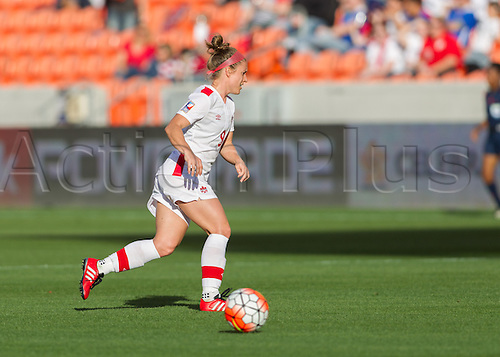 19.02.2016. Houston, TX, USA.  Canada Defender Josée Belanger (9) during the Women's Olympic semi-final qualifying game between Canada and Costa Rica at BBVA Compass Stadium in Houston, Texas.