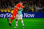05.11.2019, Signal Iduna Park, Dortmund , GER, Champions League, Gruppenphase, Borussia Dortmund vs Inter Mailand, UEFA REGULATIONS PROHIBIT ANY USE OF PHOTOGRAPHS AS IMAGE SEQUENCES AND/OR QUASI-VIDEO<br /> <br /> im Bild | picture shows:<br /> Samir Handanovic (Inter #1) jubelt mit Diego Godin (Inter #2) ueber den Treffer von Lautaro Martinez (Inter #10) zum 0:1, <br /> <br /> Foto © nordphoto / Rauch