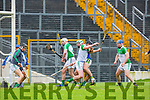 Kerry full forward Mikey Boyle flicks the high ball towards Limerick's goal goes between the keepers legs during their NHL Div 1B clash in Fitzgerald Stadium on Sunday