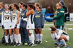 EASTON, MA - NOVEMBER 20:  LIU Post players stand on the field after the NCAA Division II Field Hockey Championship at WB Mason Stadium on November 20, 2016 in Easton, Massachusetts.  Shippensburg University defeated LIU Post 2-1 for the national title. (Photo by Winslow Townson/NCAA Photos via Getty Images)