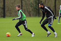 SWANSEA, WALES - JANUARY 28: (L-R) Henry Jones against Kyle Bartley during the Swansea City Training Session on January 28, 2016 in Swansea, Wales.