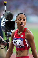 04.08.2012 Stratford, England. Americas Allison Feix (USA) wins her semifinal in Womens 100m during the Athletics on Day 8 of the London 2012 Olympic Games at the Olympic Stadium.