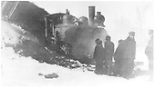 RGS 4-6-0 #25 (2nd) derailed into Lightner Creek while approaching the Durango yards.<br /> RGS  West Durango, CO  Taken by Ballough, Monte - 12/31/1919