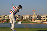 Alejandro Canizares tees off on the par3 17th tee during Day 2 of the Dubai World Championship, Earth Course, Jumeirah Golf Estates, Dubai, 26th November 2010..(Picture Eoin Clarke/www.golffile.ie)