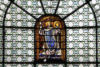St Louis (King Louis IX of France), stained glass window, chapelle St Antoine de Padoue, (Chapel of St Anthony of Padua), Eglise Saint-Sulpice (St Sulpitius' Church), c.1646-1745, late Baroque church on the Left Bank, Paris, France. Picture by Manuel Cohen