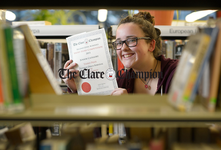 Faye Curran who won third prize in the Junior Category at the prize giving ceremony, for the Clare Champion Short Story Competition, at the de Valera library, Ennis. Photograph by John Kelly.