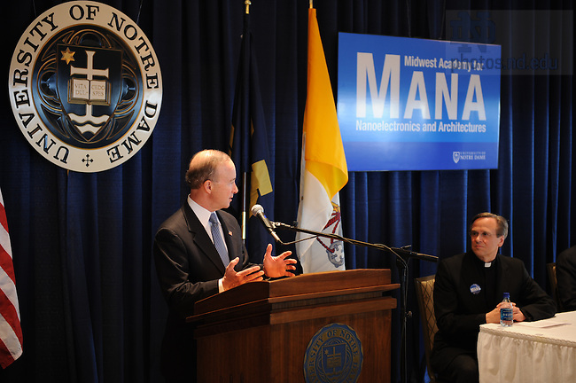 Indiana governor Mitch Daniels speaks at the press conference announcing MANA, or Midwest Academy for Nanoelectronics and Architectures.