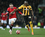 Wayne Rooney of Manchester United and Tom Elliot of Cambridge Utd - FA Cup Fourth Round replay - Manchester Utd  vs Cambridge Utd - Old Trafford Stadium  - Manchester - England - 03rd February 2015 - Picture Simon Bellis/Sportimage