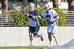 Los Angeles, CA 03/12/16 - Giovanny Escobar (Loyola Marymount #30) and Andrew Petersen (Utah State #21) in action during the Utah State vs Loyola Marymount MCLA Men's Division I game at Leavey Field at LMU.  Utah State defeated LMU 17-4.