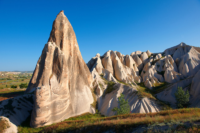 Fairy chimney tuff rock pillars formations of  Goreme, Cappadocia, Turkey