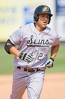 Tim Torres #23 of the Jacksonville Suns rounds the bases after hitting a home run against the Carolina Mudcats at Five County Stadium May 16, 2010, in Zebulon, North Carolina.  Photo by Brian Westerholt /  Seam Images