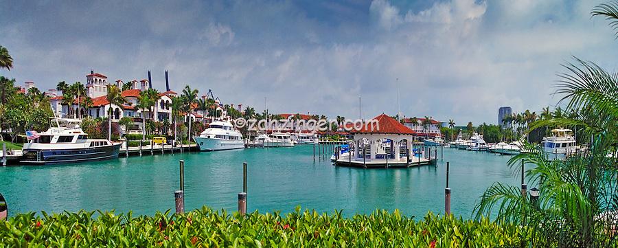 Fisher Island, Miami, FL, Marina, Yachts, luxury condos, lifestyle, rich, famous, Panorama; Intracoastal Waterway, Miami Florida, USA; Atlantic Coast,