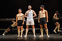 London, UK. 14.02.2014. Regan de Wynter Ltd, in association with Hilary A Williams present Gilbert and Sullivan's HMS PINAFORE, at the Hackney Empire from Friday 14th to Sunday 23rd February, prior to an 8 week UK tour. Picture shows: Benjamin Wong (ensemble), Neil Moors (Captain Corcoran) and Jacob Baumila (ensemble). Photograph © Jane Hobson.