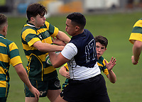 Dannevirke High School and Wanganui High School compete in the Manawatu Secondary Schools premier grading tournament at Coronation Park in Palmerston North, New Zealand on Saturday, 5 May 2018. Photo: Dave Lintott / lintottphoto.co.nz