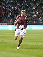 Colorado Rapids forward Caleb Folan (21) move the ball up the pitch during the first half of the game between Chivas USA and Colorado Rapids at the Home Depot Center in Carson, CA, on March 26, 2011. Final score Chivas USA 0, Colorado Rapids 1.
