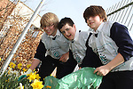 St Mary's students, Liam Glynn, Aaron Nelis and Jamie McDaid taking part in National Spring Clean Week...(Photo credit should read Jenny Matthews www.newsfile.ie)....This Picture has been sent you under the conditions enclosed by:.Newsfile Ltd..The Studio,.Millmount Abbey,.Drogheda,.Co Meath..Ireland..Tel: +353(0)41-9871240.Fax: +353(0)41-9871260.GSM: +353(0)86-2500958.email: pictures@newsfile.ie.www.newsfile.ie.