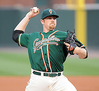 Pitcher Alan Oaks (30) of the Greensboro Grasshoppers in a game against the Greenville Drive on April 25, 2011, at Fluor Field at the West End in Greenville, S.C. Oaks was an eightth-round pick by the Florida Marlins in the 2010 First-Year Player Draft. Photo by Tom Priddy / Four Seam Images.