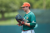 Greensboro Grasshoppers first baseman Harrison Dinicola (23) on defense against the Kannapolis Intimidators at Kannapolis Intimidators Stadium on August 5, 2018 in Kannapolis, North Carolina. The Grasshoppers defeated the Intimidators 2-1 in game one of a double-header.  (Brian Westerholt/Four Seam Images)