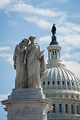 With the US Capitol in the background, the Peace Monument stands above the US Capitol grounds as the United States deals with the COVID-19 pandemic in Washington, DC, Tuesday, March 17, 2020. Credit: Rod Lamkey / CNP