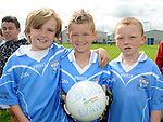 Bily Irwin, Lennon McCormack and Adam McDonagh who took part in the Kick to Croker event at Newtown Blues GAA club. Photo: Colin Bell/pressphotos.ie