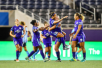 Orlando, FL - Saturday September 10, 2016: Kristen Edmonds celebrates scoring, Dani Weatherholt during a regular season National Women's Soccer League (NWSL) match between the Orlando Pride and Sky Blue FC at Camping World Stadium.