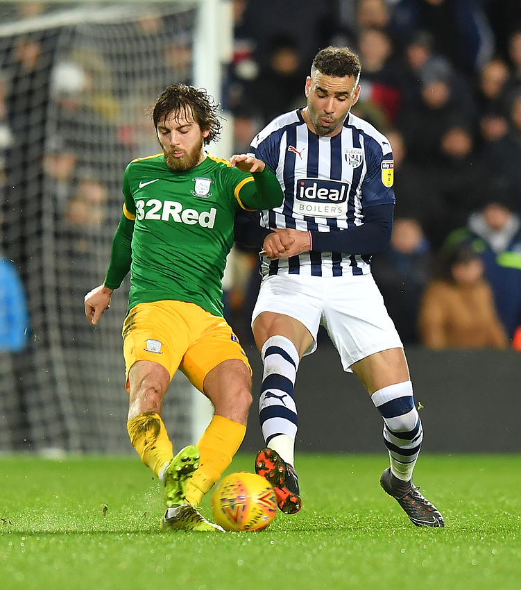 Preston North End's Ben Pearson battles with West Bromwich Albion's Hal Robson-Kanu<br /> <br /> Photographer Dave Howarth/CameraSport<br /> <br /> The EFL Sky Bet Championship - West Bromwich Albion v Preston North End - Tuesday 25th February 2020 - The Hawthorns - West Bromwich<br /> <br /> World Copyright © 2020 CameraSport. All rights reserved. 43 Linden Ave. Countesthorpe. Leicester. England. LE8 5PG - Tel: +44 (0) 116 277 4147 - admin@camerasport.com - www.camerasport.com