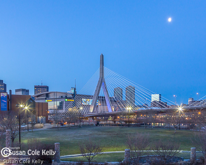 The Leonard P Zakim Bunker Hill Bridge seen from Paul Revere Park in Charlestown, Boston, Massachusetts, USA