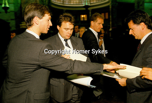 The Baltic Exchange City of London  1992. Shipping Brokers meet each Monday at midday to exchange information. This is pre-computer days and before the Baltic Exchange was blown up by the IRA in 1993.