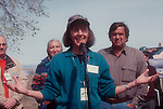 Hanford Reach National Monument, Nature Conservancy Laura Smith speaking at Ceremony handing over Hanford Reach buffer lands from Dept Energy to US Fish and Wildlife, main step in creating the Monument. 1999, DOE Secretary Bill Richardson (right)