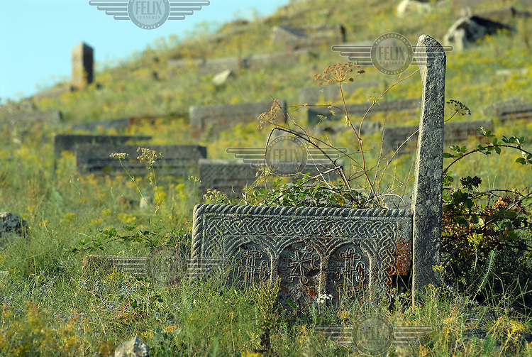 Decorative old graves on the outskirts of Goris.
