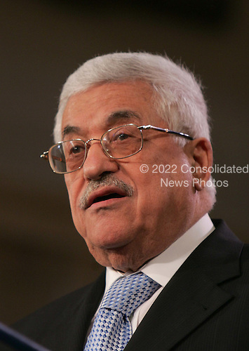 Palestinian Authority President Mahmoud Abbas speaks at the opening session Middle East Peace Conference  at the U. S Naval Academy in Annapolis, Maryland on November 27, 2007.Agency pool photo by Dennis Brack/Black Star