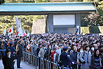 January 2, 2014, Tokyo, Japan - Well-wishers attend a New Year's public appearance of Emperor Akihito and the other members of the royal family at the Imperial Palace in Tokyo on Wednesday, January 2, 2014.  (Photo by Natsuki Sakai/AFLO) AYF -ks-
