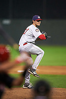 Auburn Doubledays pitcher Grant Borne (37) delivers a pitch during a game against the Batavia Muckdogs on September 5, 2015 at Dwyer Stadium in Batavia, New York.  Batavia defeated Auburn 6-3.  (Mike Janes/Four Seam Images)