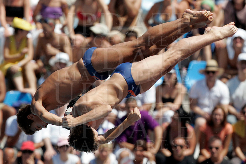 Britain's Max Brick and Thomas Daley compete in the men 10m synchro platform diving finals at the Swimming World Championships in Rome, 25 July 2009..UPDATE IMAGES PRESS/Riccardo De Luca