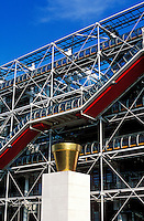 France, Paris, Exterior of Pompidou Center.