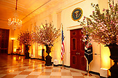 The State Dining Room setup for tomorrow evening's State Dinner honoring President Emmanuel Macron of France and his wife, Brigitte Macron, at the White House, in Washington, DC on April 23, 2018.<br /> Credit: Martin H. Simon / CNP